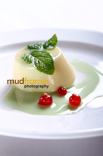Bavarois of white chocolate with mint sauce dessert at midi 57 restaurant & bar