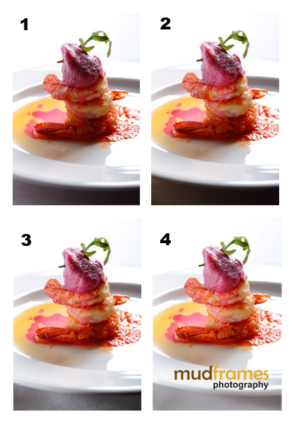 Lighting comparison of roasted prawns