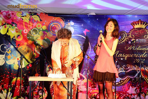 Principal of Methodist College, KL, Miss Moey Yoke Lai celebrating her birthday at Midsummer Masquerade 2012 Event