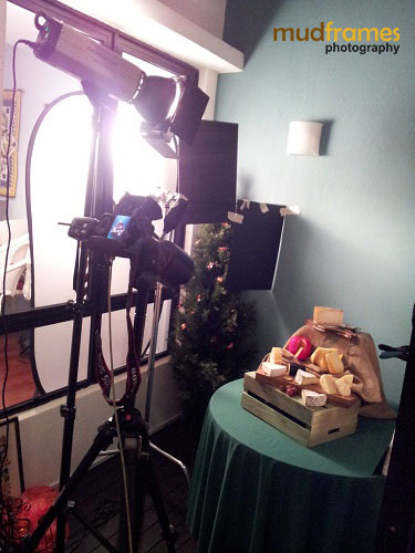 Behind-the-scenes photo shoot for Cold Storage Cut Cheese