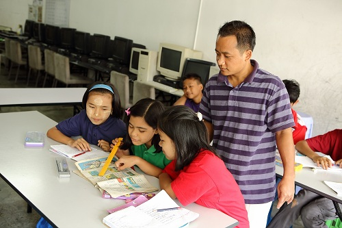 Myanmar children refugees studying at PBCC Learning Centre in Selayang