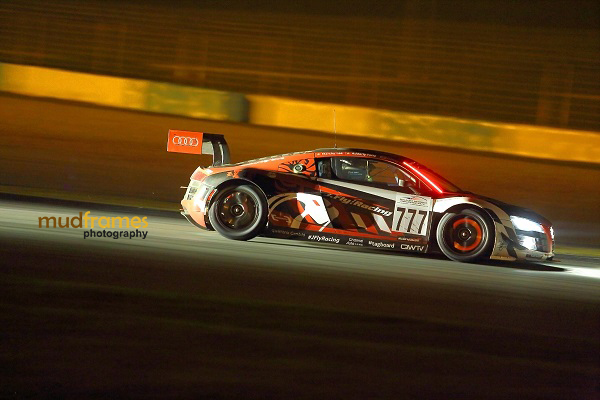 An Audi R8 LMS Ultra night racing during MMER 2013 at Sepang