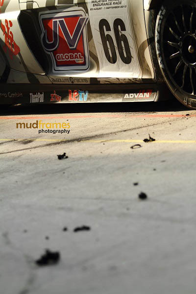 Debris from an Audi R8 during MMER 2013 at Sepang