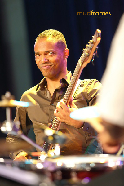 Ezra Brown's bassist smiling while performing during the KL International Jazz Festival 2013