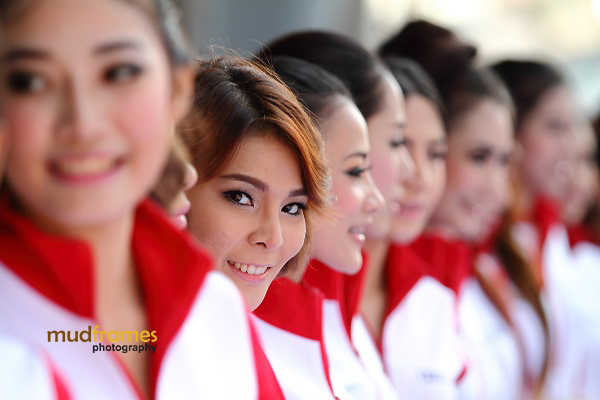 Rows of race queens during the Audi R8 LMS Cup 2013 at Sepang