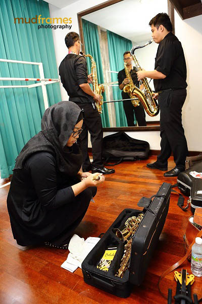 The UM Symphony Orchestra preparing back stage during the KL International Jazz Festival 2013