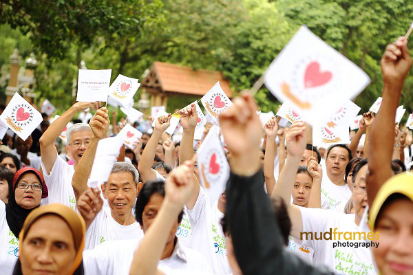Participants being flagged off for the walk at Taman Keliling, Seremban during World Arthritis Day 2013