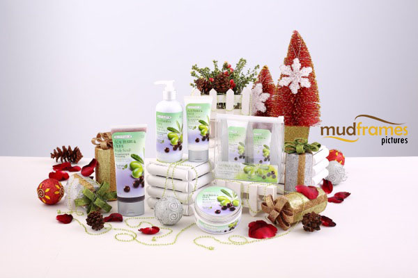Guardian Acai Berry & Olive body care range product photography for 2013 Christmas catalogue
