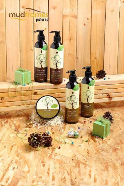 Guardian Organic Olive Oil body care range product photography for 2013 Christmas catalogue