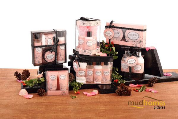 Guardian Secrets body care range product photography for 2013 Christmas catalogue