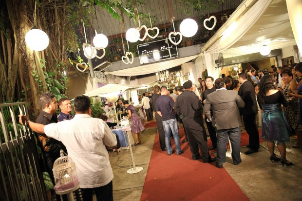 Wedding guests mingling during wedding dinner reception at Passion Road