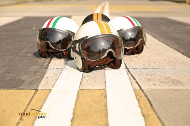 Vespa helmets on the road