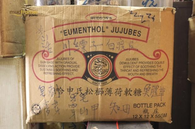An old storage box of Eumenthol jujubes at Kok Ann medical store at Kuching, Malaysia