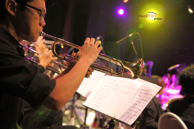 The UM Big Band Orchestra playing during the KL International Jazz Festival 2014 at University Malaya's Experimental Theatre