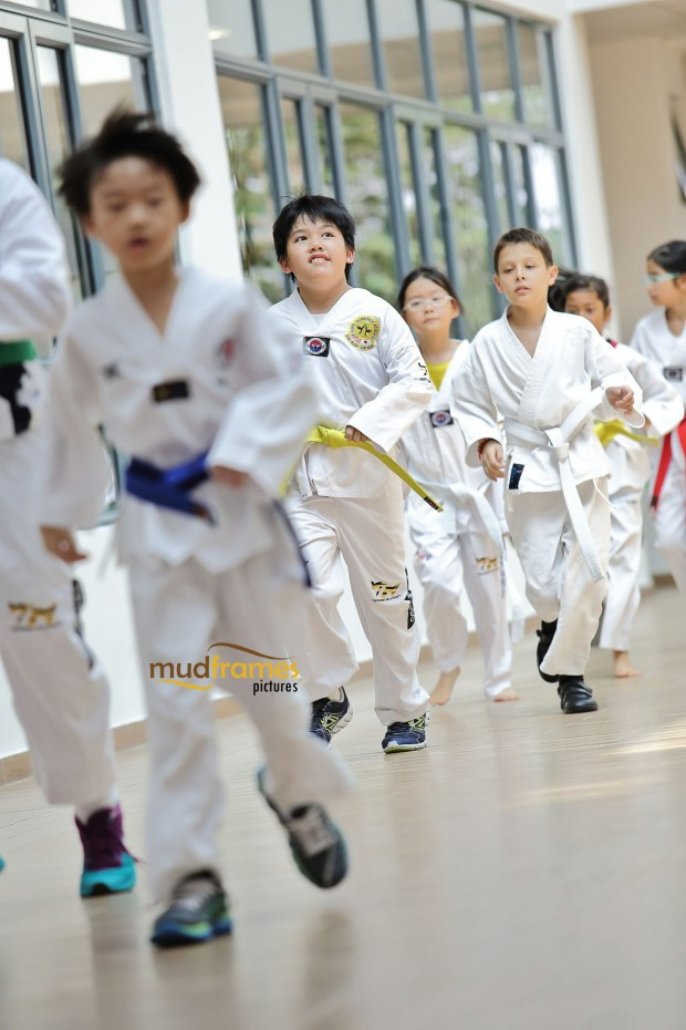 Students practising taekwando at the British International School of Kuala Lumpur