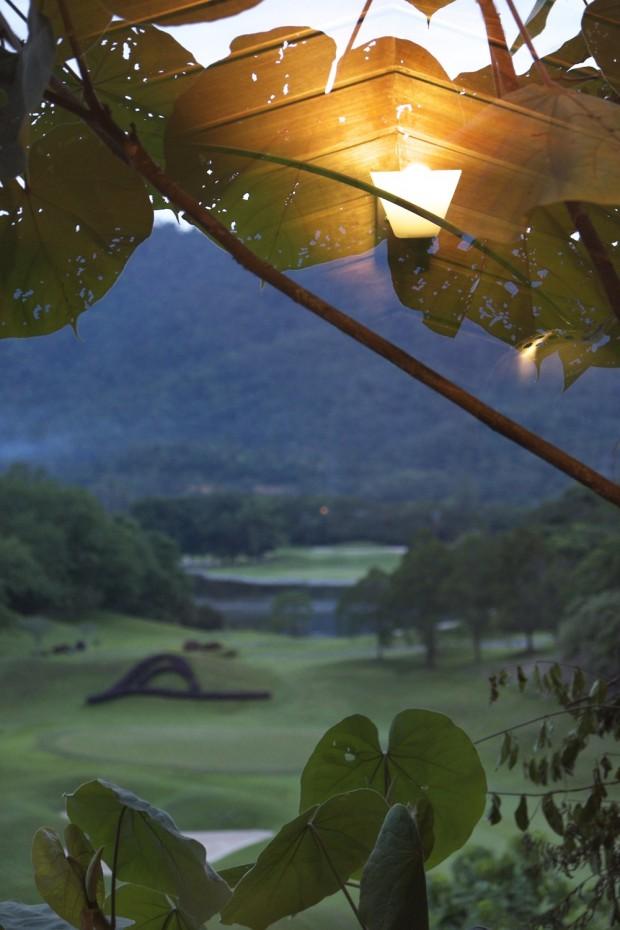 Bedroom overlooking golf course at Templer Park Rainforest Retreat