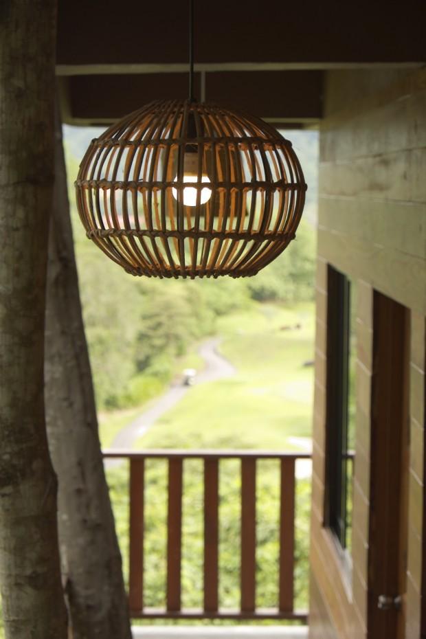 Wooden lamp cage at Templer Park Rainforest Retreat