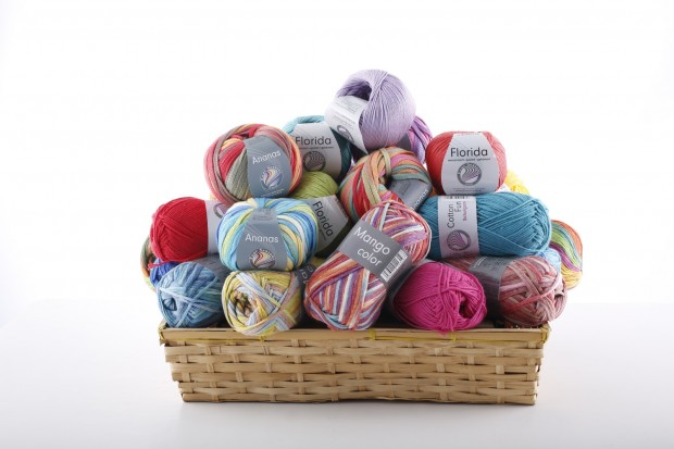 Product photography of balls of yarn