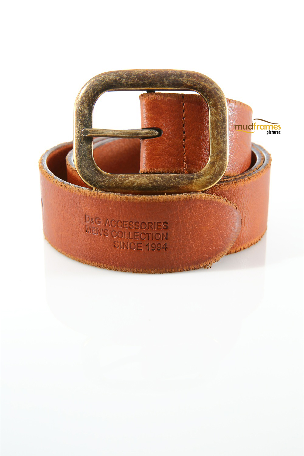 Brown Dolce & Gabbana leather belt on white background