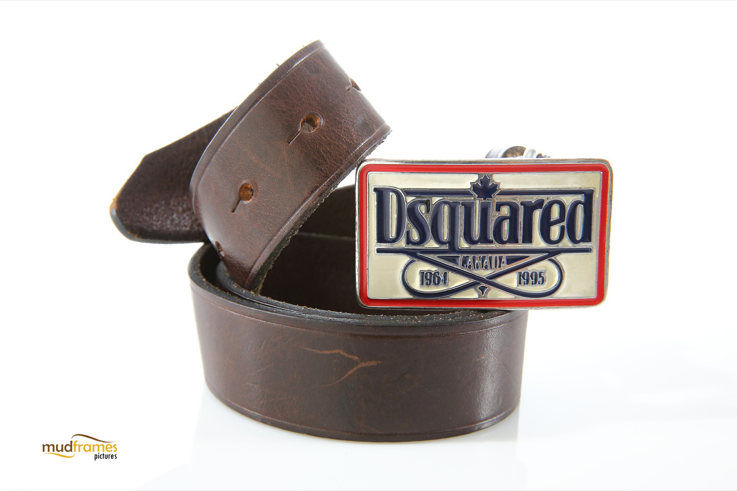 Brown Dsquared leather belt on white background