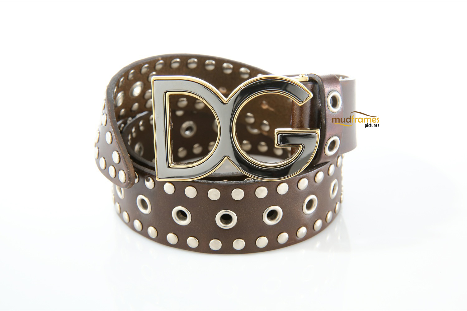 Dark brown Dolce & Gabbana belt on white background