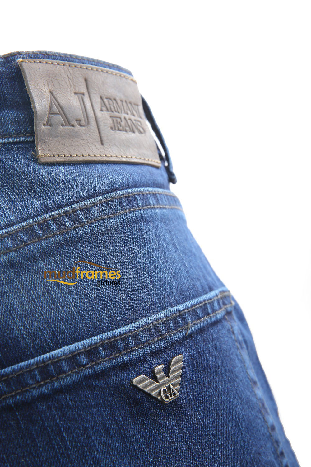 Blue Armani Jeans on white background