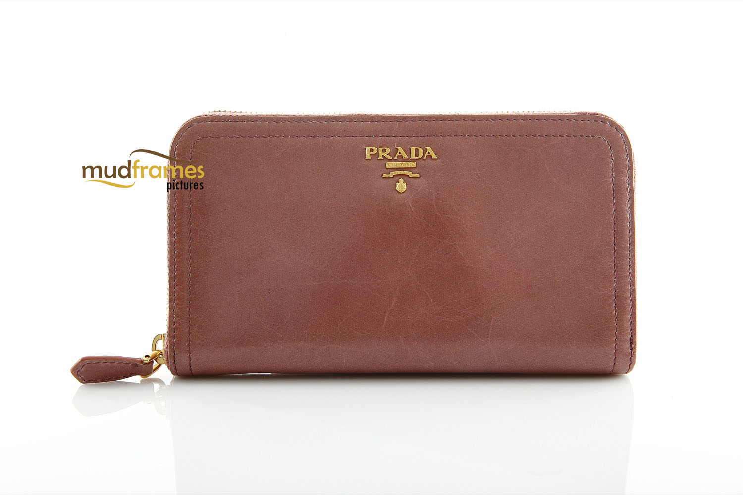 Prada purse on white background