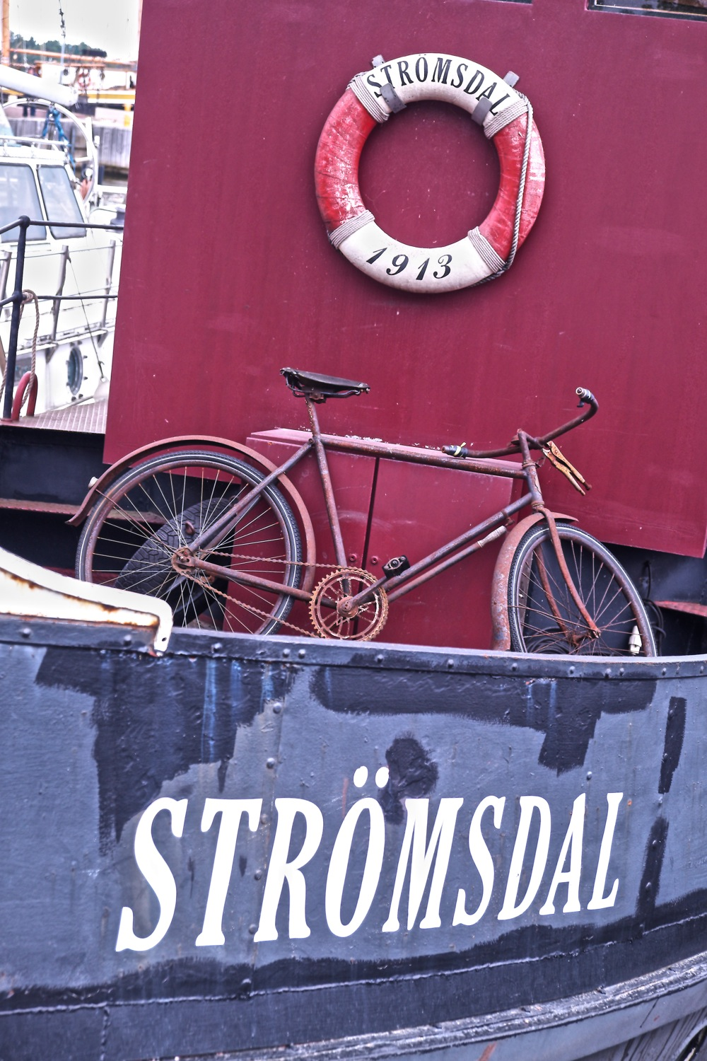 Bicycle on board the Stromsdal at Helsinki city