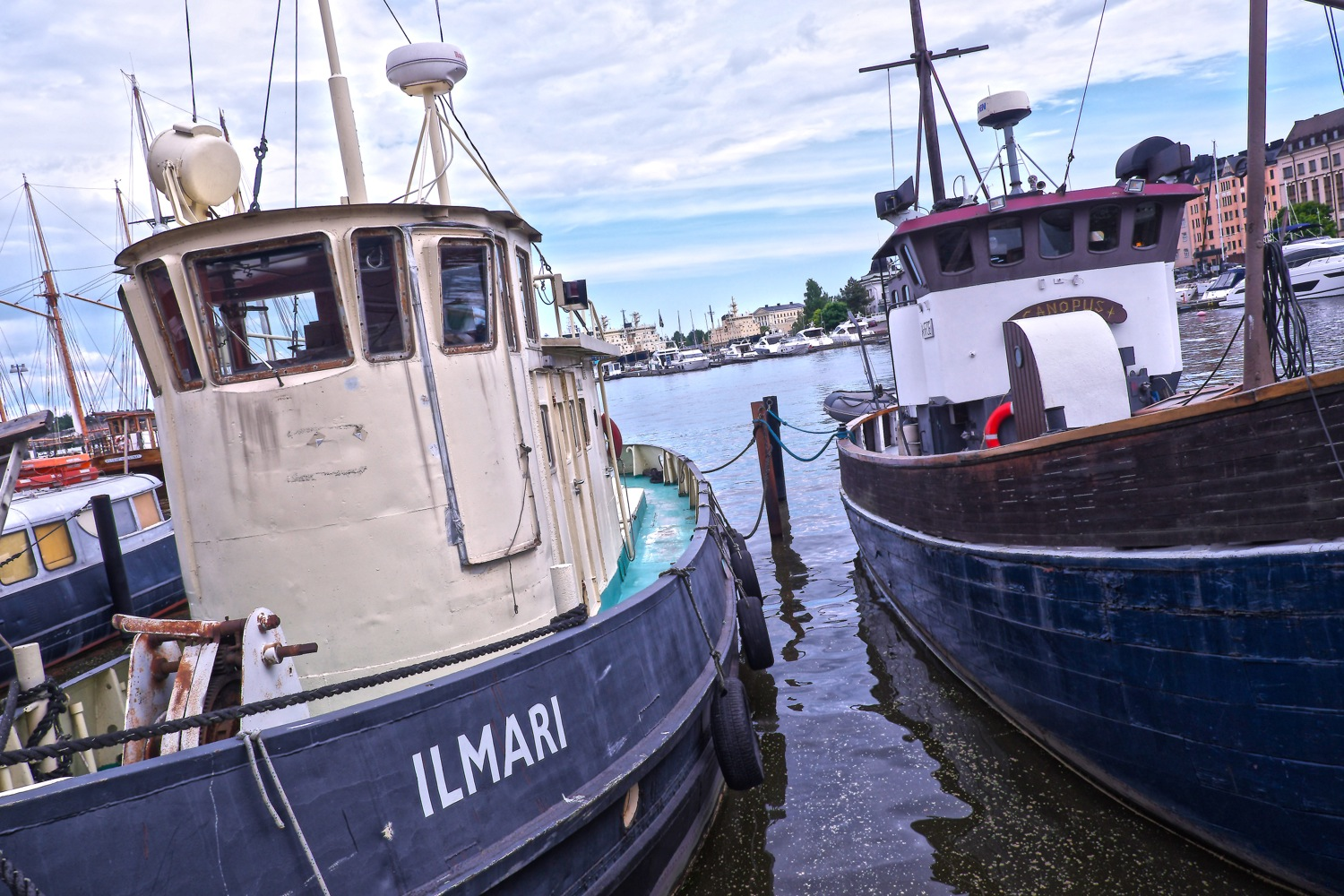 Boats moored at Helsinki city