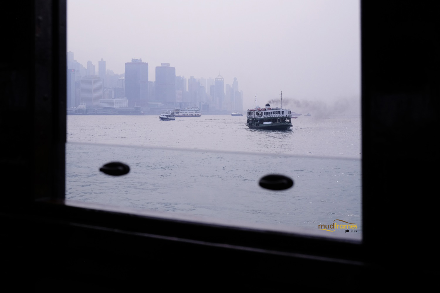 Ferry ride to Kowloon; looking back at Hong Kong island