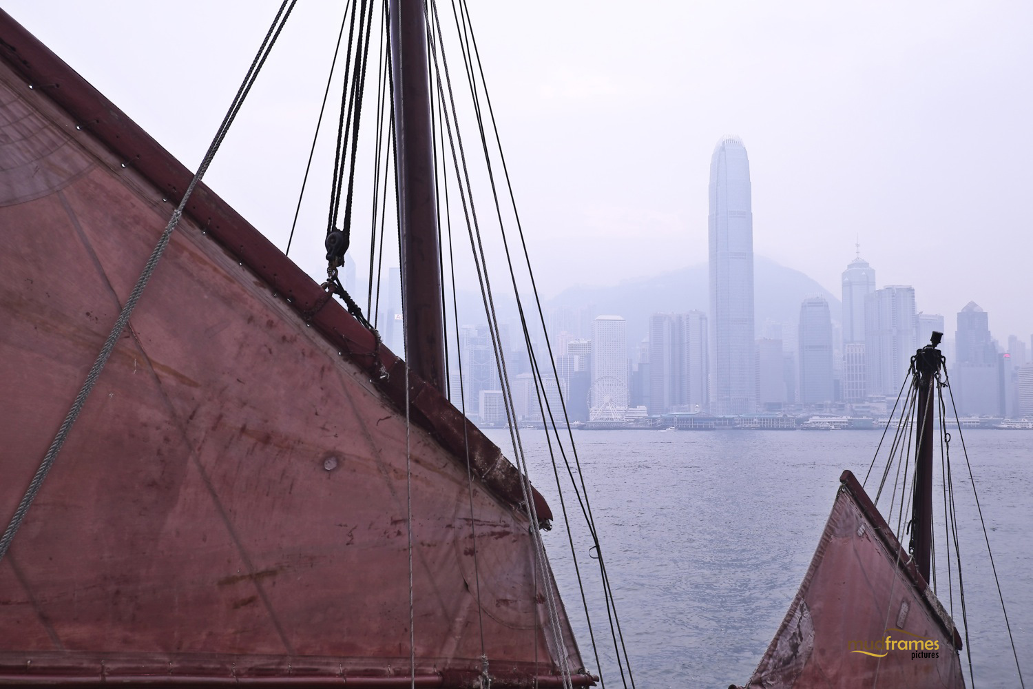 Junk sails with Hong Kong island as backdrop